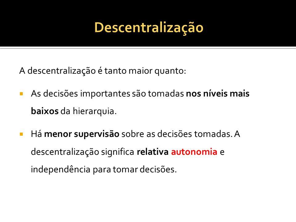 Descentralização A descentralização é tanto maior quanto:
