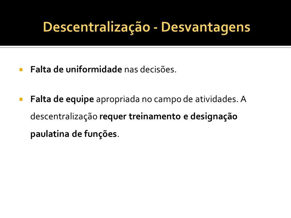 Descentralização - Desvantagens