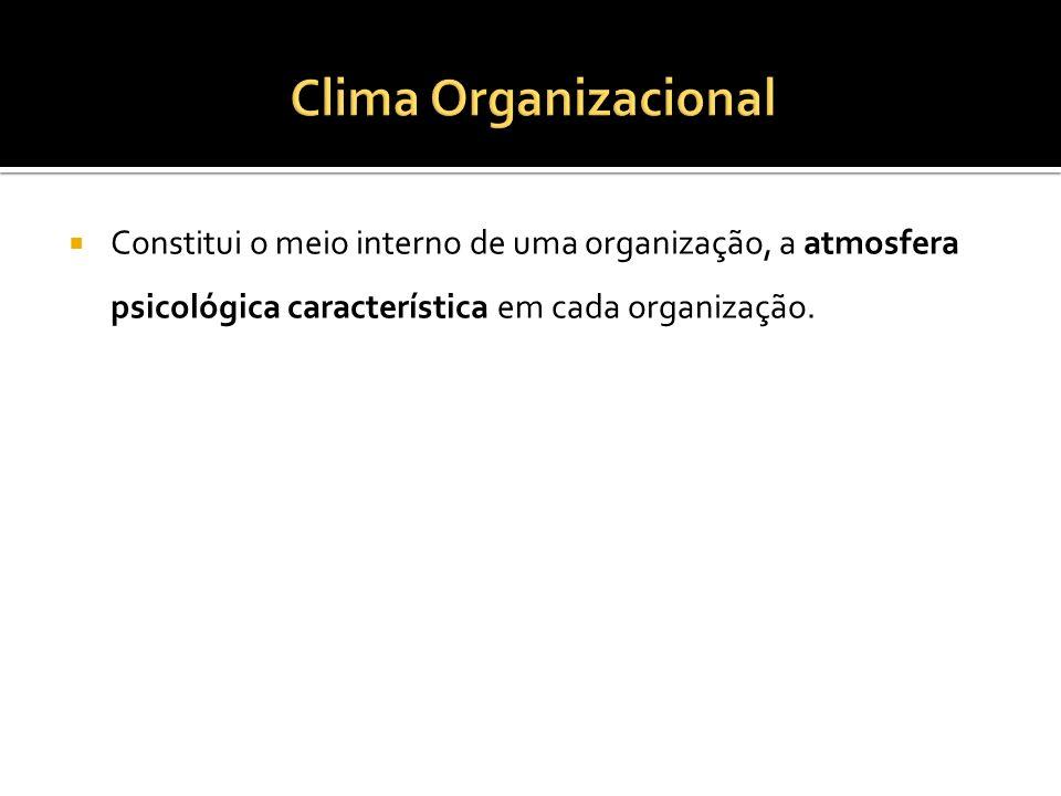 Clima Organizacional Constitui o meio interno de uma organização, a atmosfera psicológica característica em cada organização.