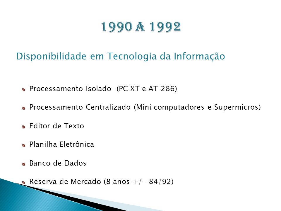 1990 a 1992 Disponibilidade em Tecnologia da Informação
