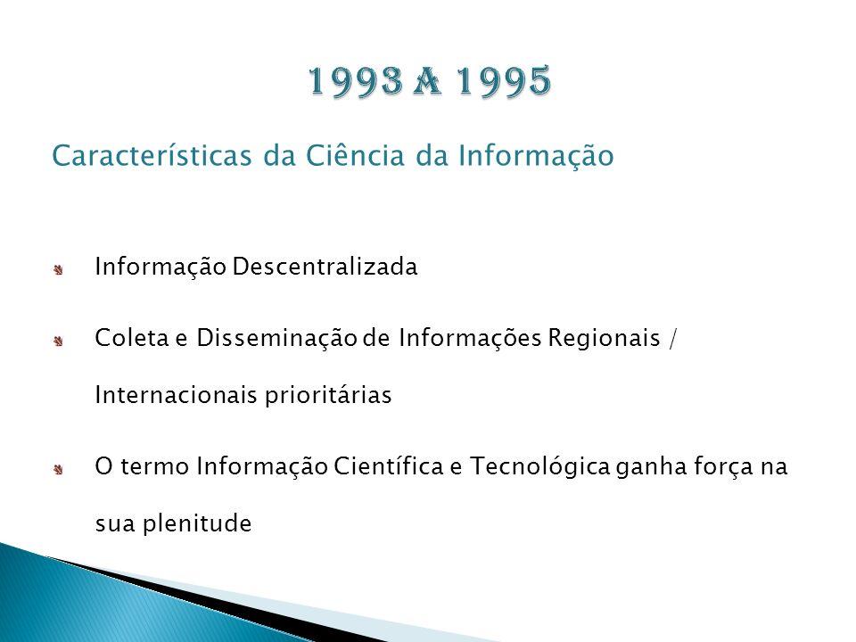 1993 a 1995 Características da Ciência da Informação