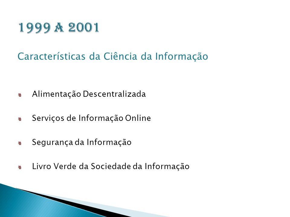 1999 a 2001 Características da Ciência da Informação
