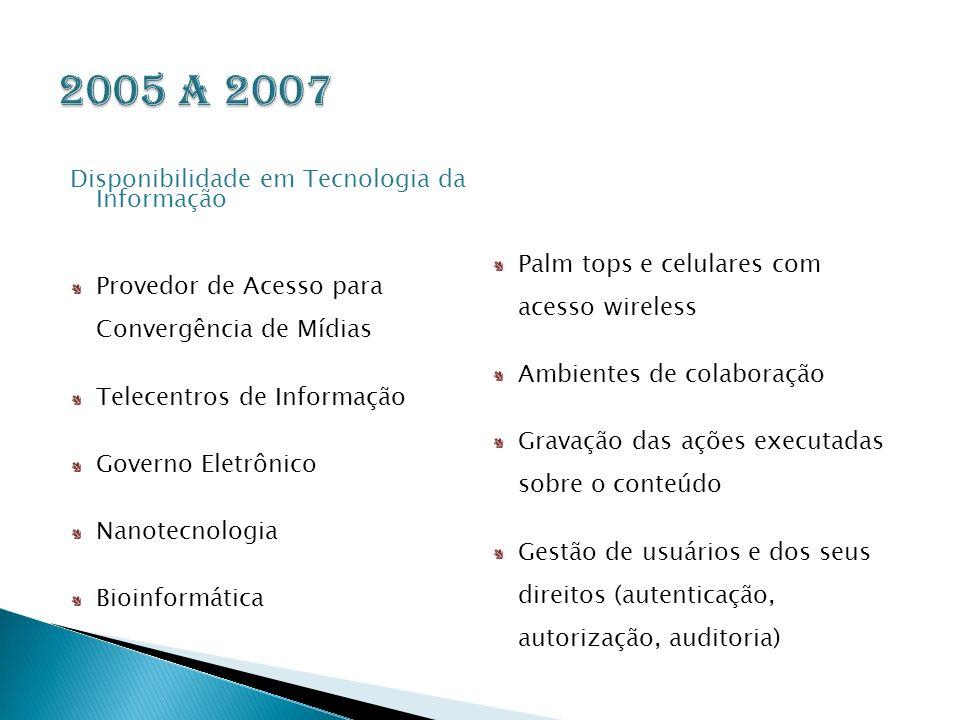 2005 a 2007 Disponibilidade em Tecnologia da Informação
