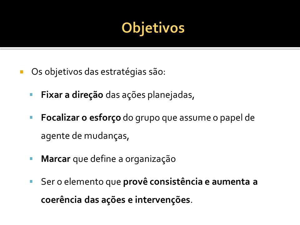 Objetivos Os objetivos das estratégias são: