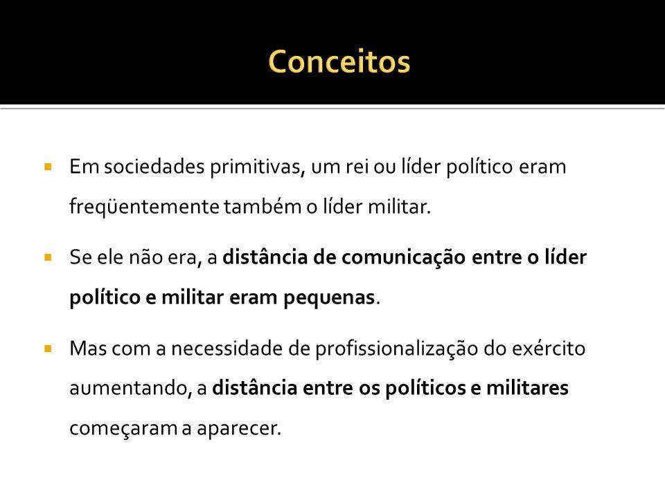 Conceitos Em sociedades primitivas, um rei ou líder político eram freqüentemente também o líder militar.