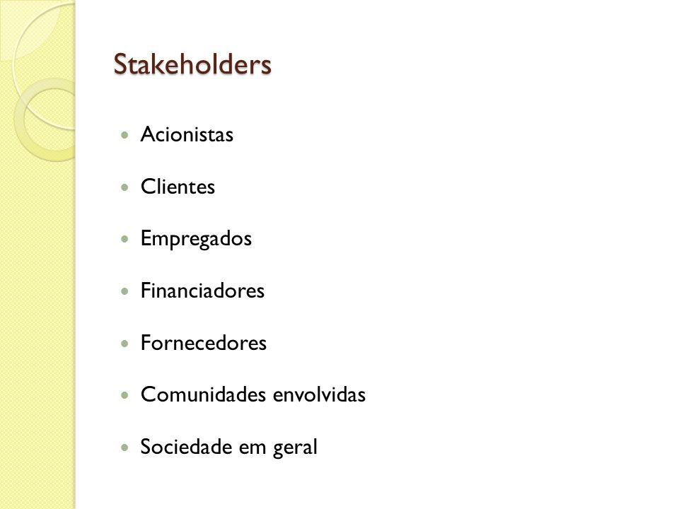 Stakeholders Acionistas Clientes Empregados Financiadores Fornecedores