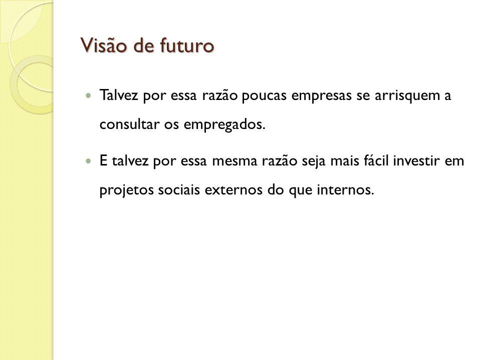 Visão de futuro Talvez por essa razão poucas empresas se arrisquem a consultar os empregados.