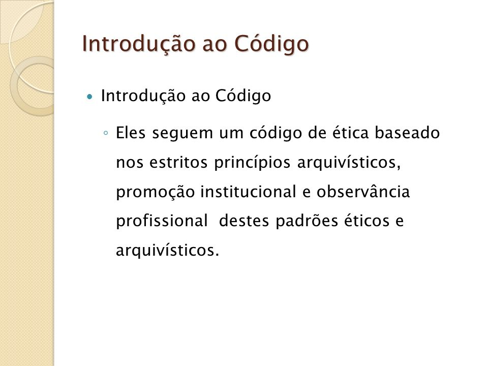 Introdução ao Código Introdução ao Código