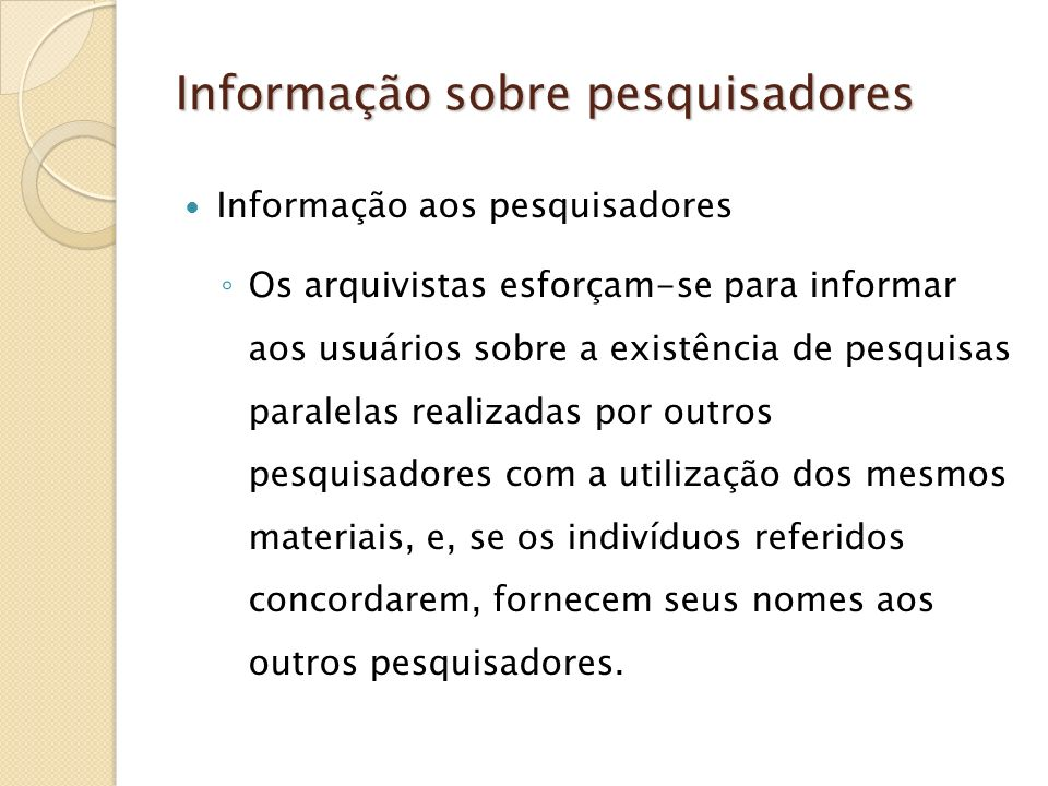 Informação sobre pesquisadores