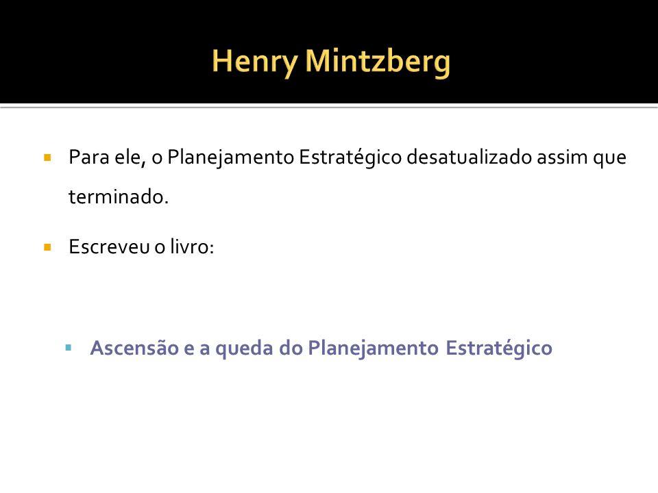 Henry Mintzberg Para ele, o Planejamento Estratégico desatualizado assim que terminado. Escreveu o livro: