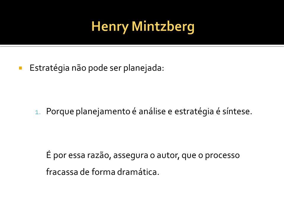 Henry Mintzberg Estratégia não pode ser planejada: