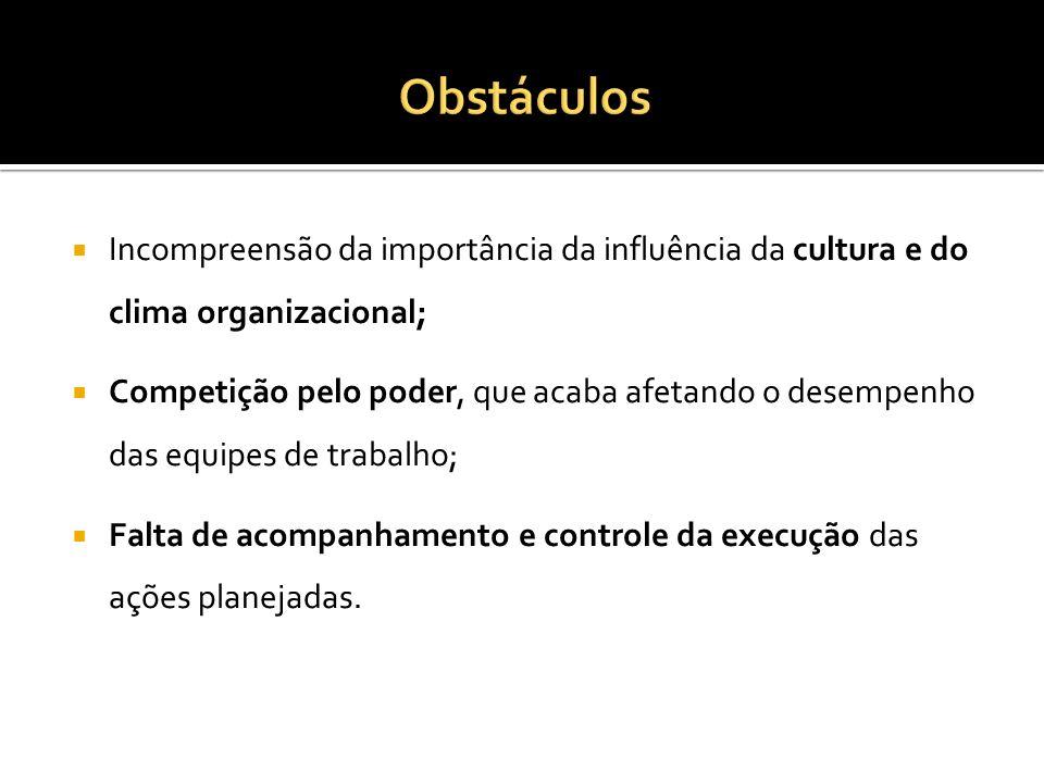 ObstáculosIncompreensão da importância da influência da cultura e do clima organizacional;