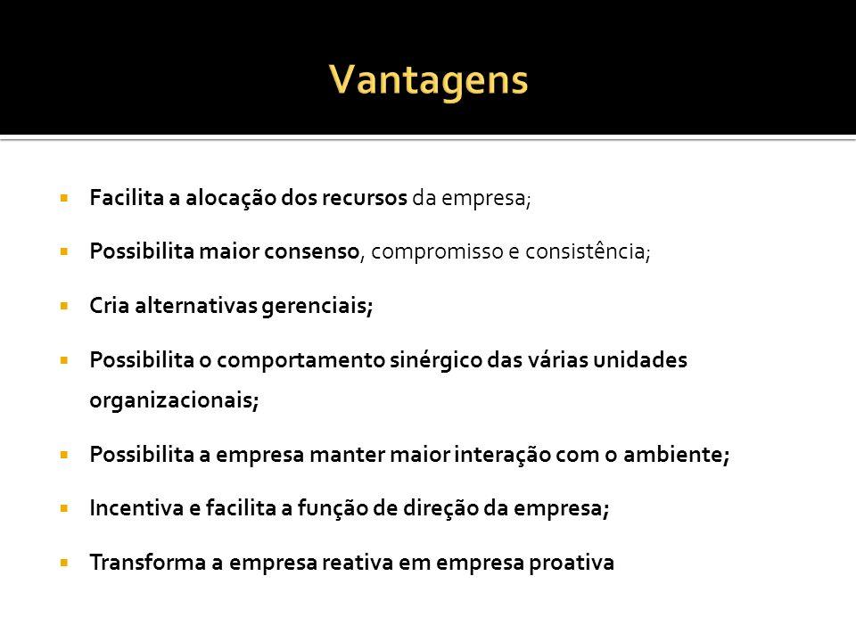 Vantagens Facilita a alocação dos recursos da empresa;