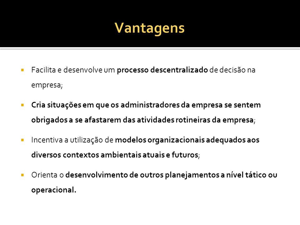 Vantagens Facilita e desenvolve um processo descentralizado de decisão na empresa;