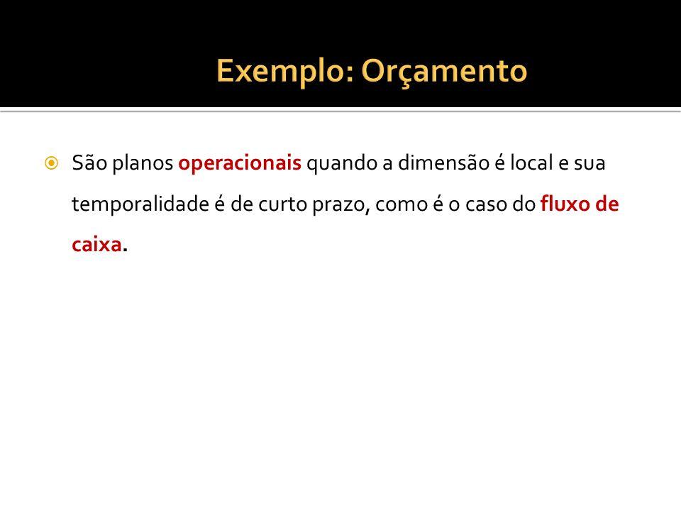 Exemplo: OrçamentoSão planos operacionais quando a dimensão é local e sua temporalidade é de curto prazo, como é o caso do fluxo de caixa.