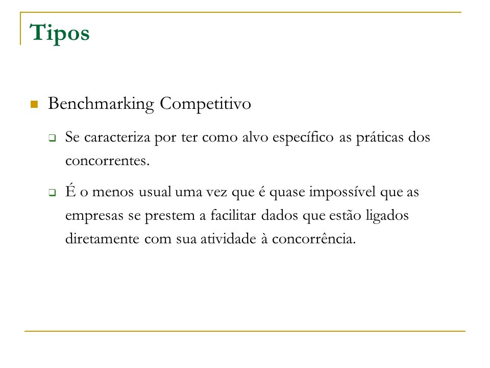 Tipos Benchmarking Competitivo