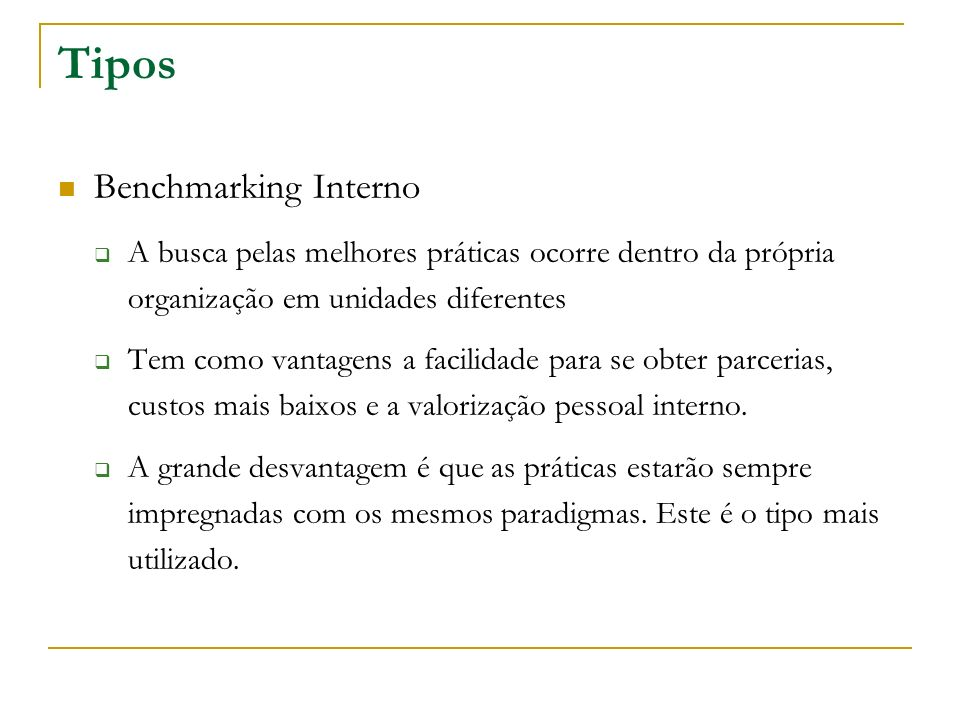 Tipos Benchmarking Interno