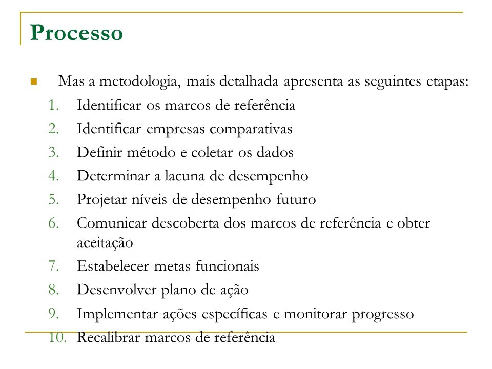 Processo Mas a metodologia, mais detalhada apresenta as seguintes etapas: Identificar os marcos de referência.