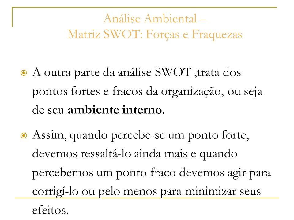 Análise Ambiental – Matriz SWOT: Forças e Fraquezas