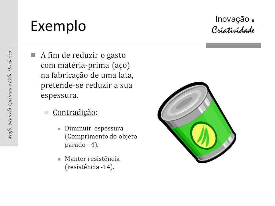 ExemploA fim de reduzir o gasto com matéria-prima (aço) na fabricação de uma lata, pretende-se reduzir a sua espessura.