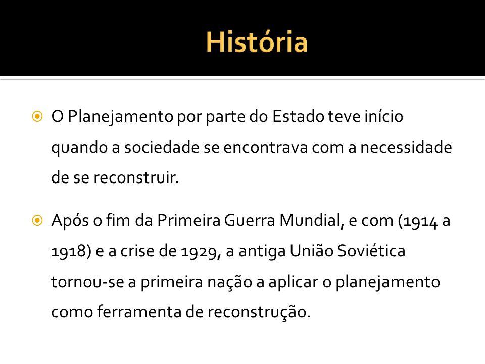 HistóriaO Planejamento por parte do Estado teve início quando a sociedade se encontrava com a necessidade de se reconstruir.