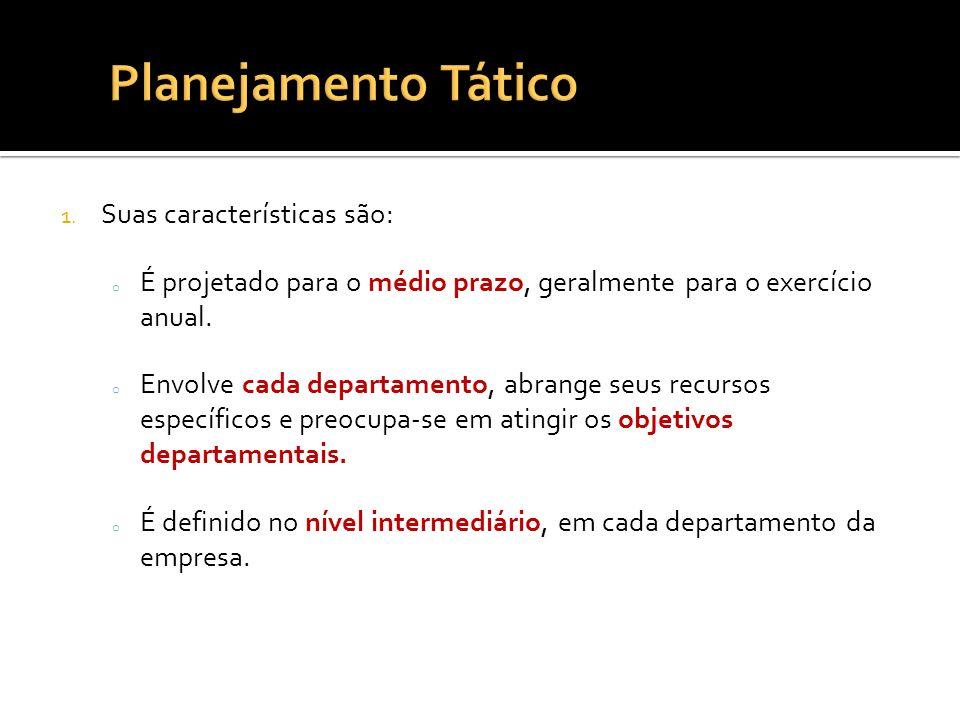 Planejamento Tático Suas características são: