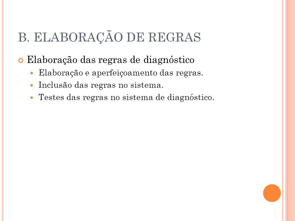 B. ELABORAÇÃO DE REGRAS Elaboração das regras de diagnóstico