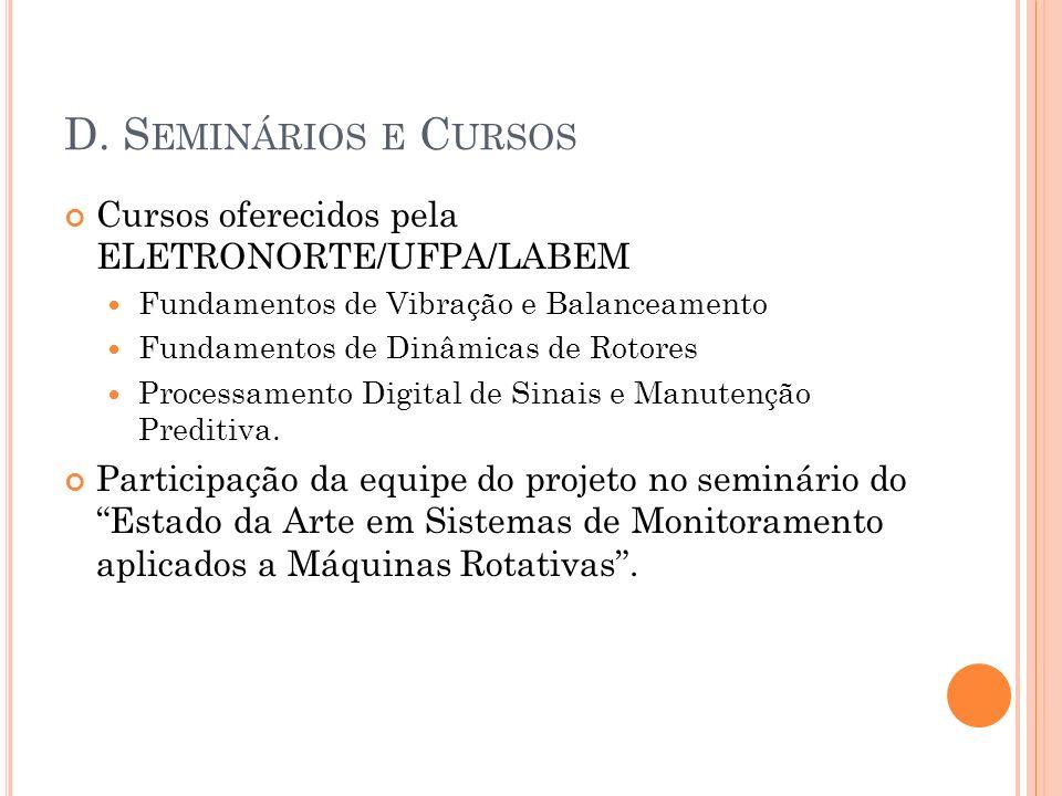 D. Seminários e Cursos Cursos oferecidos pela ELETRONORTE/UFPA/LABEM