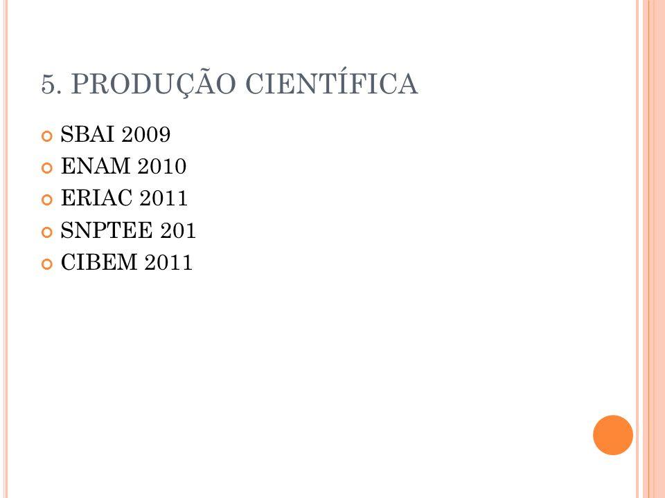 5. PRODUÇÃO CIENTÍFICA SBAI 2009 ENAM 2010 ERIAC 2011 SNPTEE 201