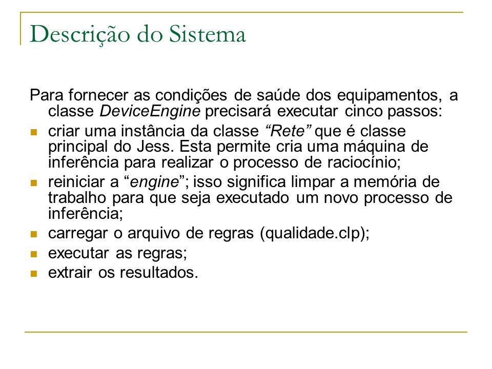 Descrição do Sistema Para fornecer as condições de saúde dos equipamentos, a classe DeviceEngine precisará executar cinco passos: