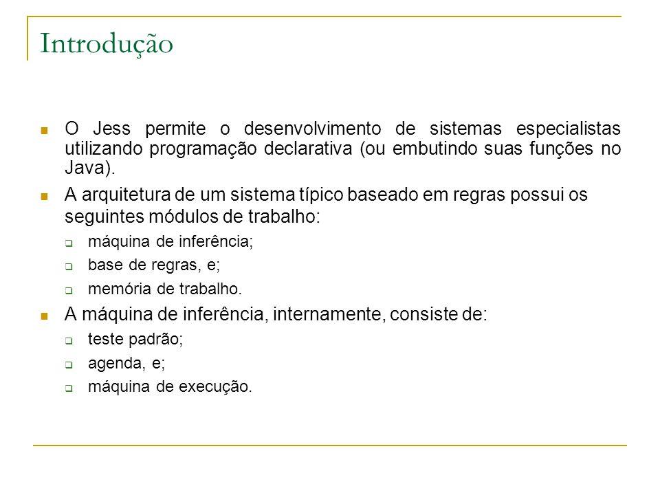 Introdução O Jess permite o desenvolvimento de sistemas especialistas utilizando programação declarativa (ou embutindo suas funções no Java).
