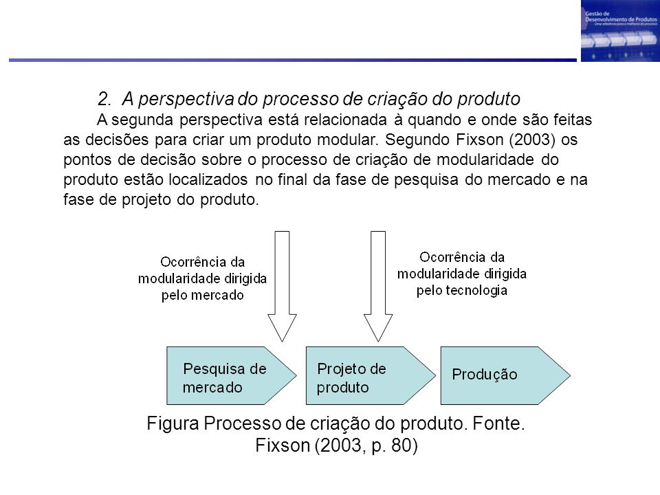 Figura Processo de criação do produto. Fonte. Fixson (2003, p. 80)