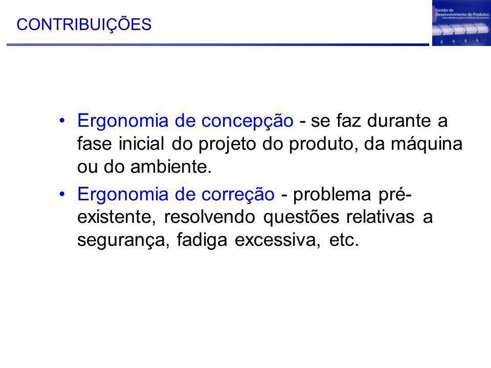 CONTRIBUIÇÕES Ergonomia de concepção - se faz durante a fase inicial do projeto do produto, da máquina ou do ambiente.