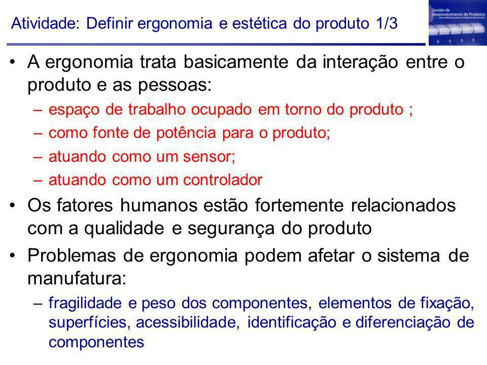 Atividade: Definir ergonomia e estética do produto 1/3