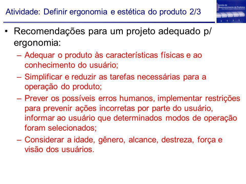 Atividade: Definir ergonomia e estética do produto 2/3