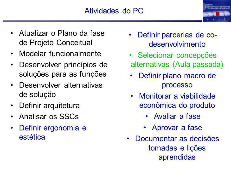 Atualizar o Plano da fase de Projeto Conceitual Modelar funcionalmente