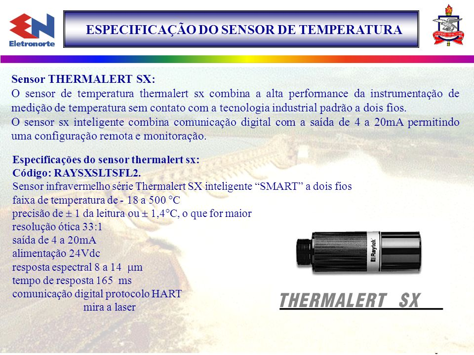ESPECIFICAÇÃO DO SENSOR DE TEMPERATURA
