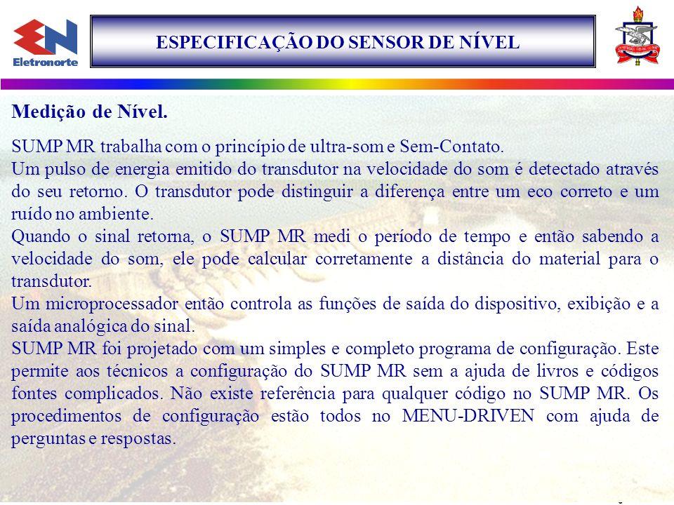 Medição de Nível. ESPECIFICAÇÃO DO SENSOR DE NÍVEL