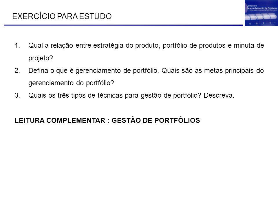 EXERCÍCIO PARA ESTUDO Qual a relação entre estratégia do produto, portfólio de produtos e minuta de projeto