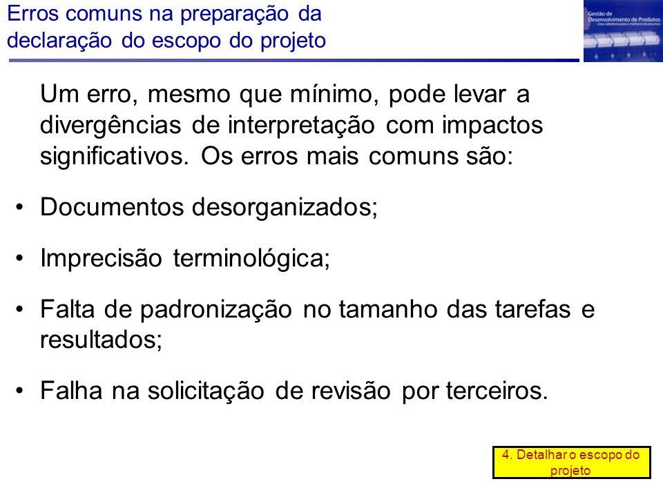 Erros comuns na preparação da declaração do escopo do projeto