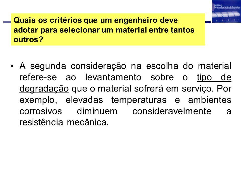 Quais os critérios que um engenheiro deve adotar para selecionar um material entre tantos outros