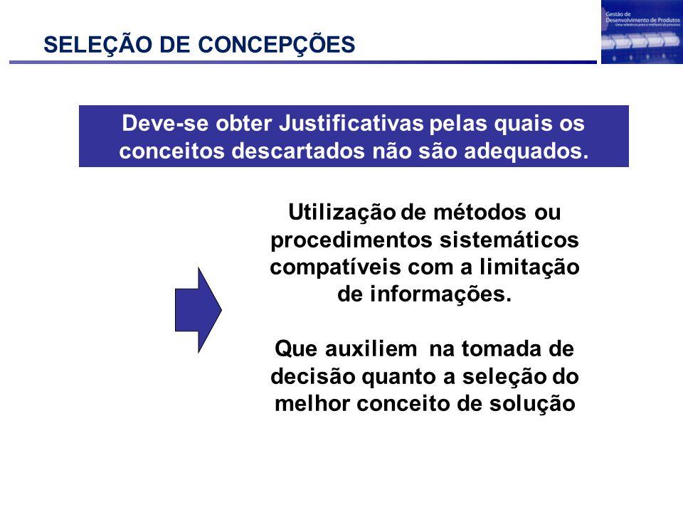 SELEÇÃO DE CONCEPÇÕES Deve-se obter Justificativas pelas quais os conceitos descartados não são adequados.