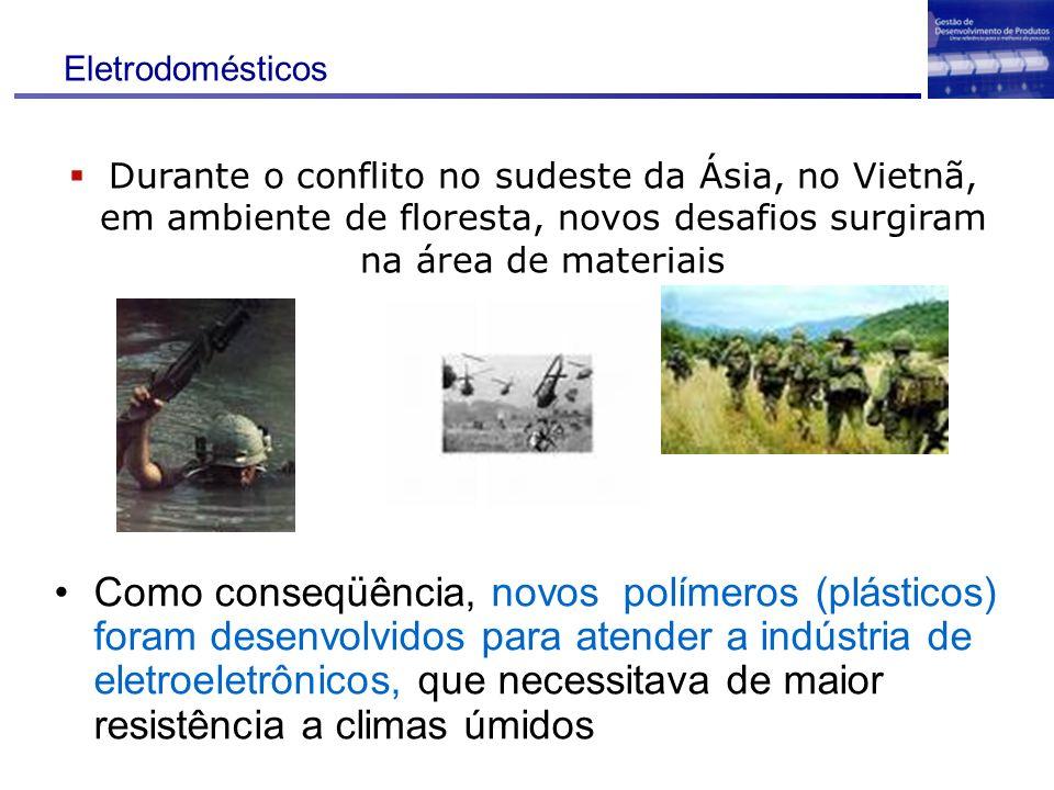 Eletrodomésticos Durante o conflito no sudeste da Ásia, no Vietnã, em ambiente de floresta, novos desafios surgiram na área de materiais.
