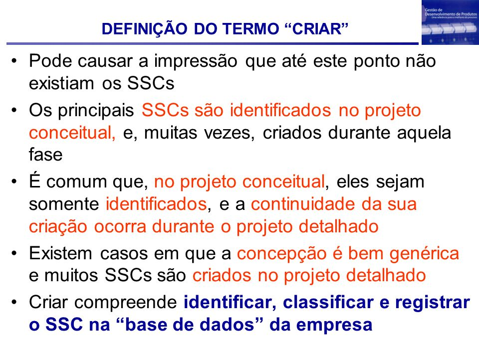 DEFINIÇÃO DO TERMO CRIAR
