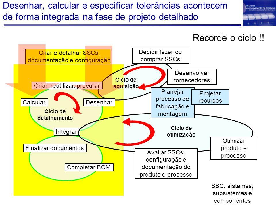 Desenhar, calcular e especificar tolerâncias acontecem de forma integrada na fase de projeto detalhado