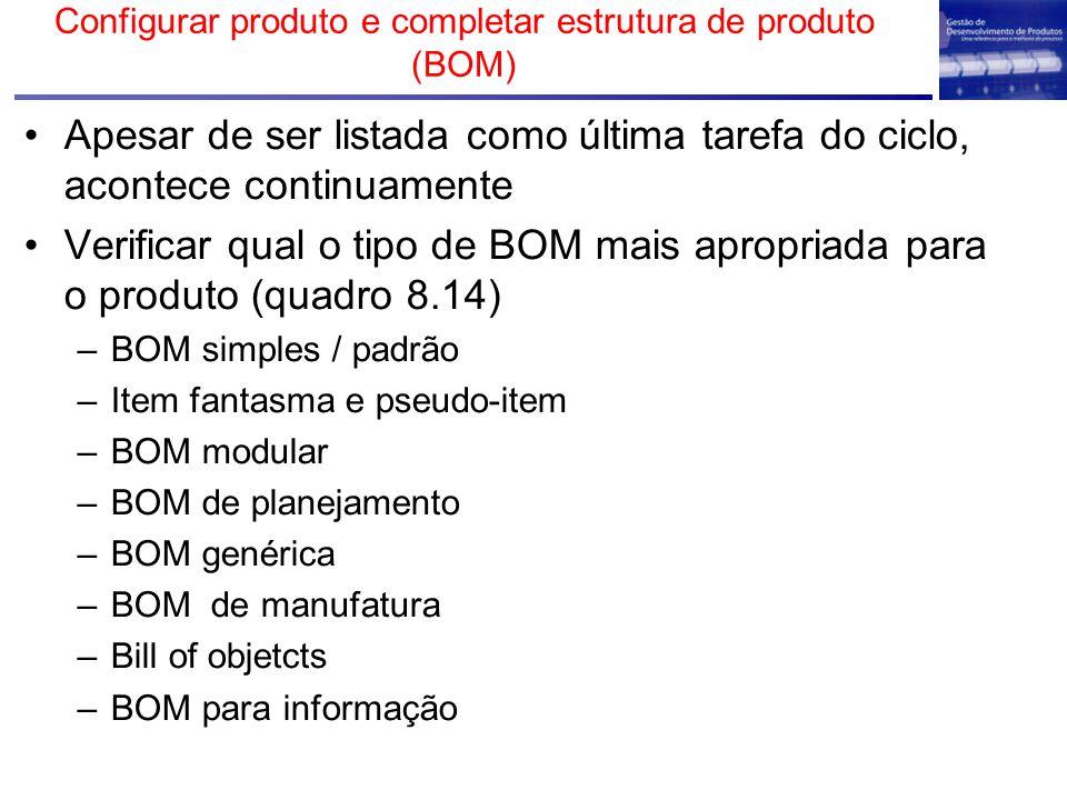 Configurar produto e completar estrutura de produto (BOM)