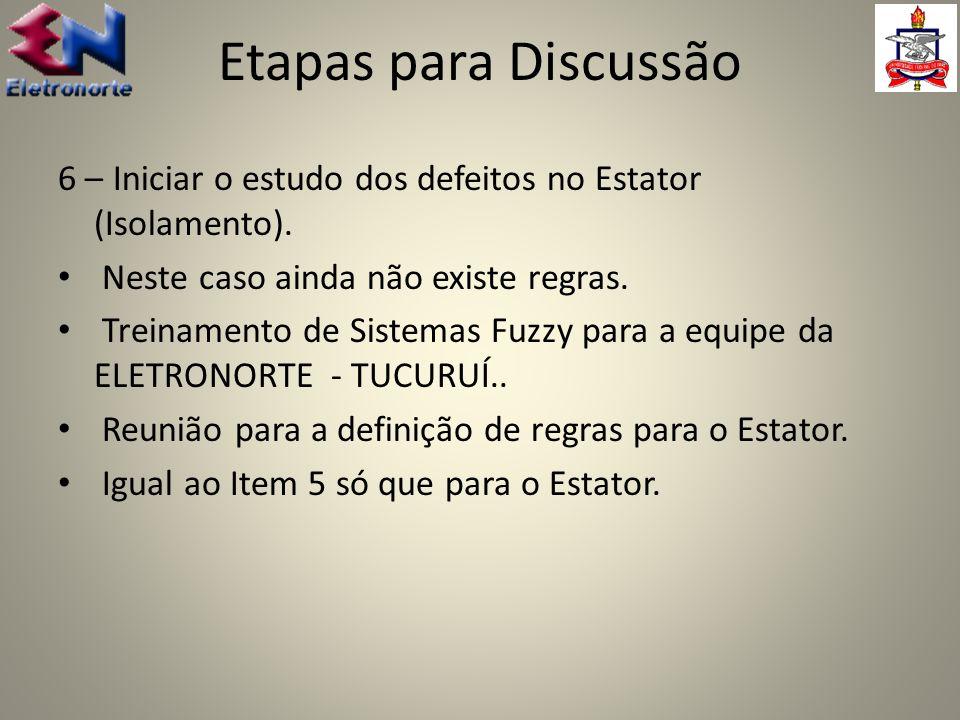 Etapas para Discussão 6 – Iniciar o estudo dos defeitos no Estator (Isolamento). Neste caso ainda não existe regras.