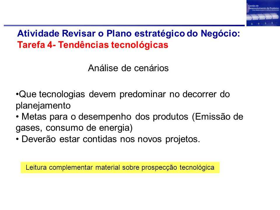 Leitura complementar material sobre prospecção tecnológica