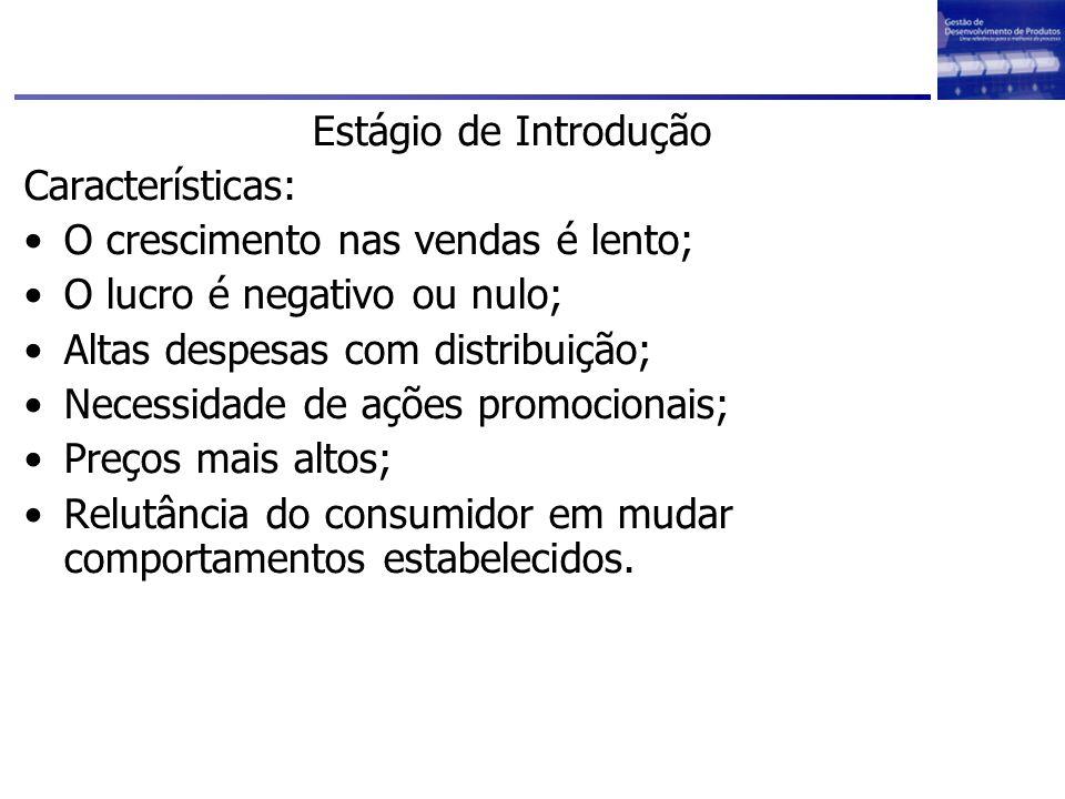 Estágio de Introdução Características: O crescimento nas vendas é lento; O lucro é negativo ou nulo;