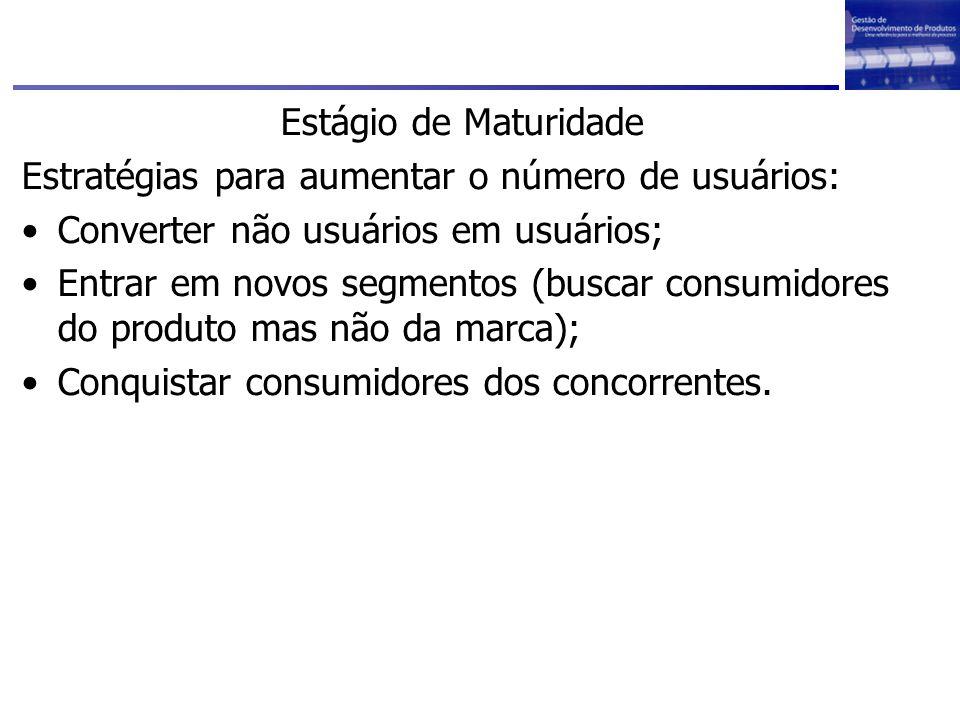 Estágio de Maturidade Estratégias para aumentar o número de usuários: Converter não usuários em usuários;